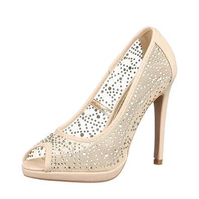 Damen Schuhe Pumps High Heels Beige 40 NKo5Eh