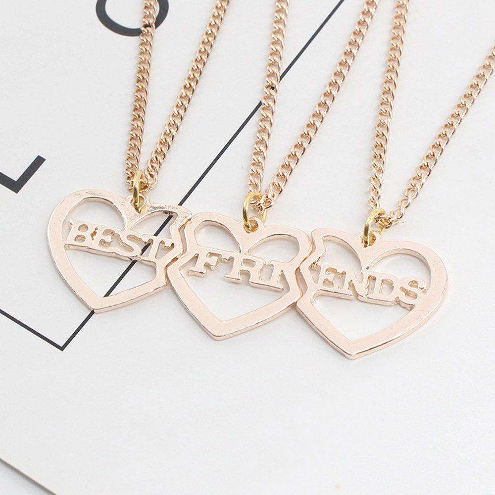 b307c96b8d4b Elegant Rose 3 piezas Best Friends Forever BFF plata corazón clave Colgante  Collar Conjunto Amistad accesorios (Gold)  Amazon.es  Joyería