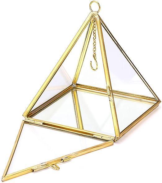 Jewelry Ring Display Holder Pyramid Geometric Glass Box Wedding Bearer Gift Hang