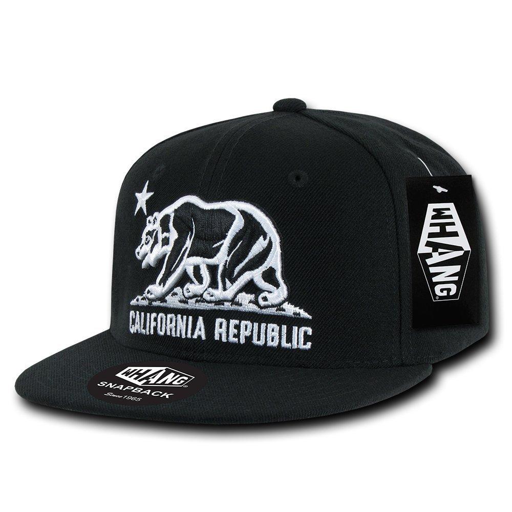 WHANG California Republic Snapbacks, Black 2