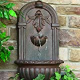Sunnydaze Florence Wall-Mounted Water Fountain, Outdoor Garden Waterfall Feature, Iron Finish, 27 Inch For Sale