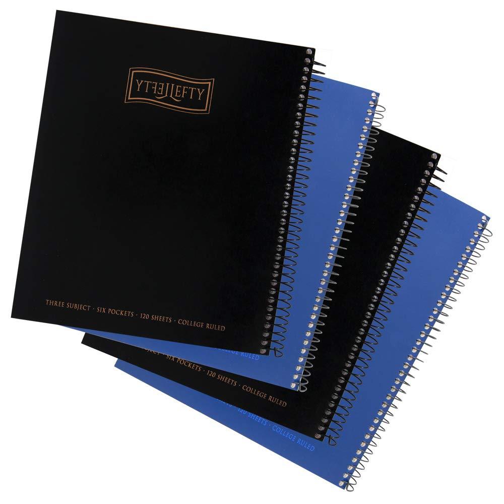 Left-handed 3 Subject Spiral Notebooks Plain Color, Set of 4, Black & Blue