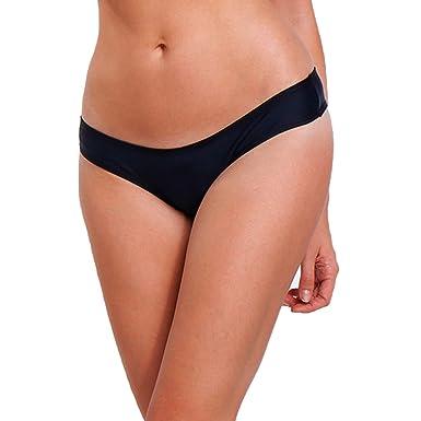 e4782350e24b FITTOO Women Sexy V Bikini Bottoms Cheeky Thong Booty T-Back Swimwear Black  S