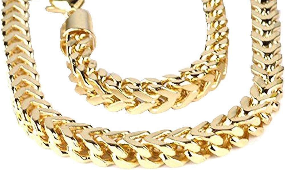 Dazzlingrock Collection - Collar de cadena de 14 K para hombre, 5 mm de ancho, cierre de mosquetón (71 cm de largo), oro amarillo