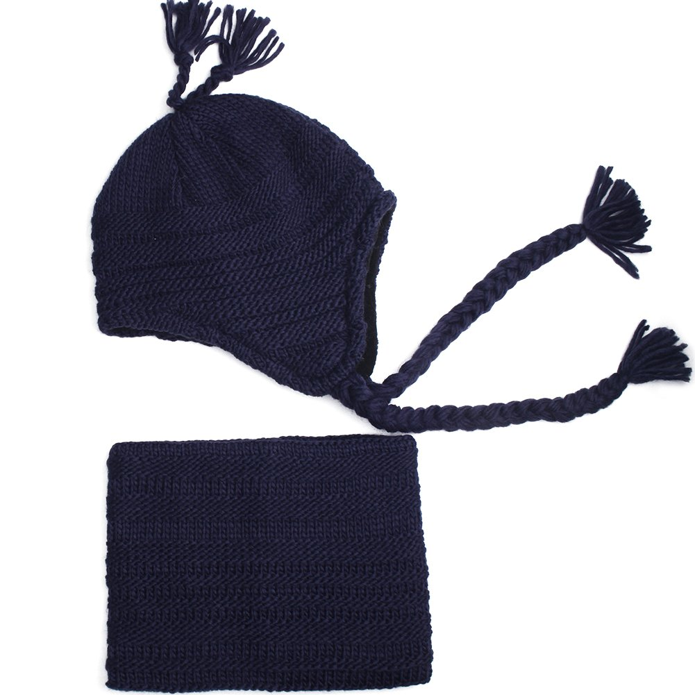fc7be6dbbe6 Amazon.com  Kids Winter Hat and Scarf Set for Baby Girls Boys Toddler Knit  Beanie Hat Pom Pom Ears Flap Hats Fleece Lining  Sports   Outdoors