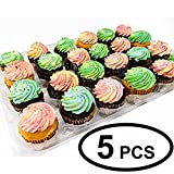 Katgely Cupcake Boxes Cupcake Containers 24 Pack Cupcake with Lids, Set of 5 With Bonus 125 Cupcake Liners