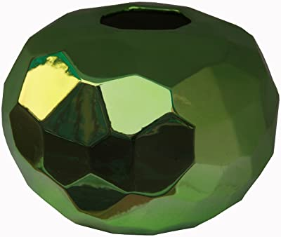 Privilege 84115 Short Ceramic Vase, Metallic Green