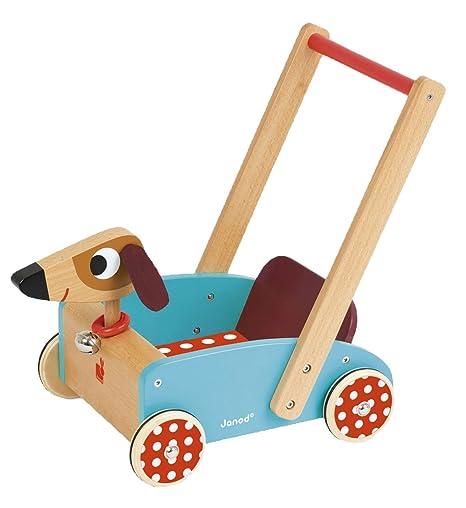 Janod Madera Juguete – Madera carro perro mano carro perro salchicha habitación de los Niños,