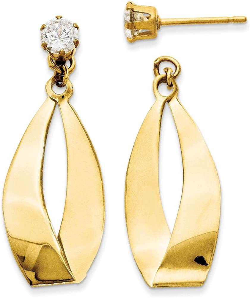 14kt Yellow Gold Polished Oval Dangle with CZ Stud Earring Jackets