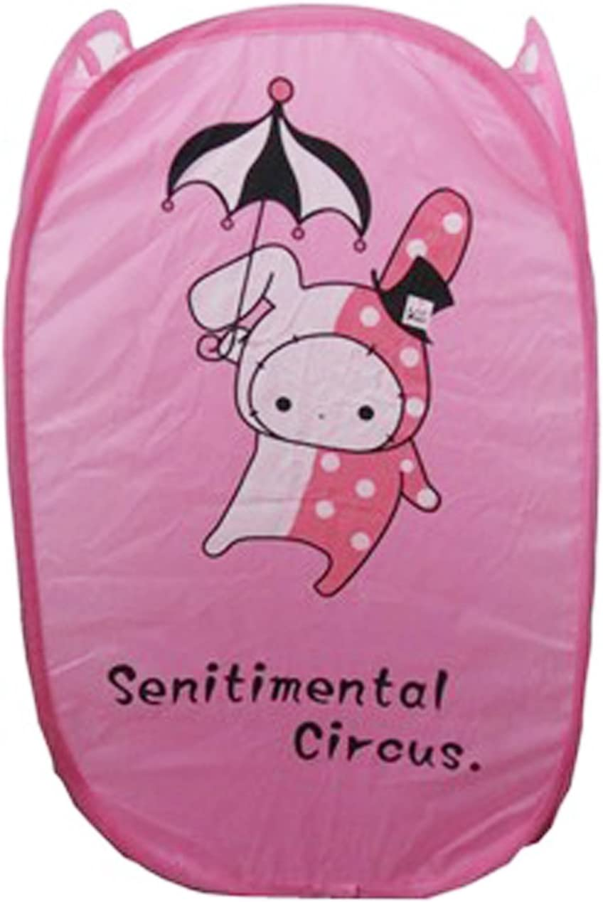 Wei Long Cute Foldable Laundry Toys Tidy Clothes Socks Basket Storage Bag (Pink Rabbit)
