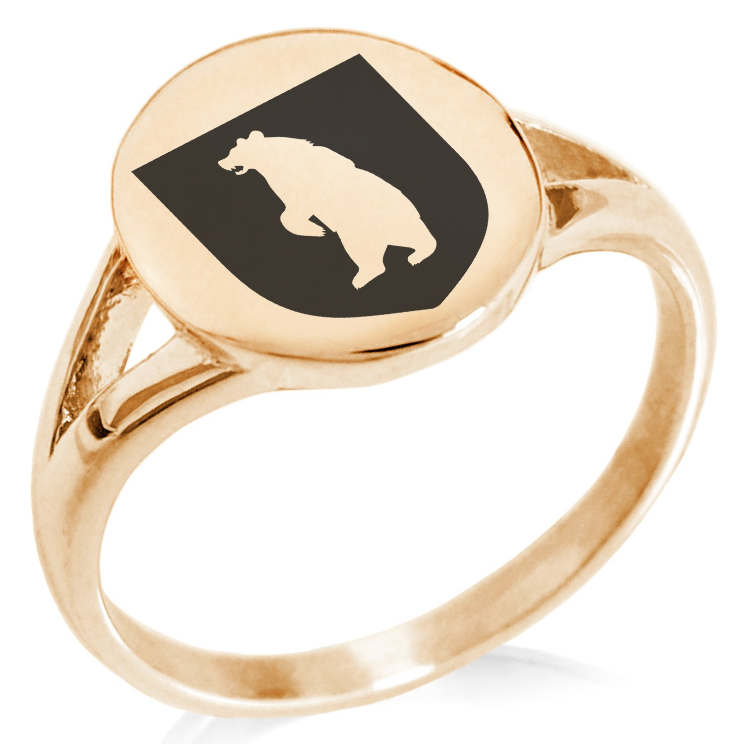 Tioneer Rose Gold Plated Stainless Steel Bear Ferocity Coat of Arms Shield Symbol Minimalist Oval Top Polished Statement Ring, Size 8