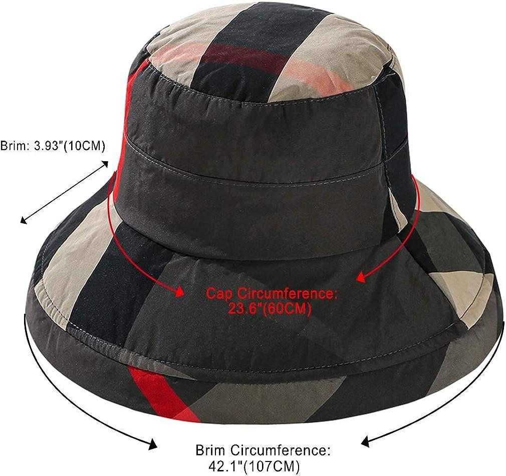 DOCILA Stylish Bucket Hats for Women Foldable Outdoor Plaid Fisherman Sun//Rain Cap with Chin Strap