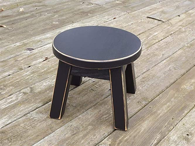 Remarkable Black Wooden Wood Step Stool Foot Stool Distressed Solid Round Top Riser Andrewgaddart Wooden Chair Designs For Living Room Andrewgaddartcom