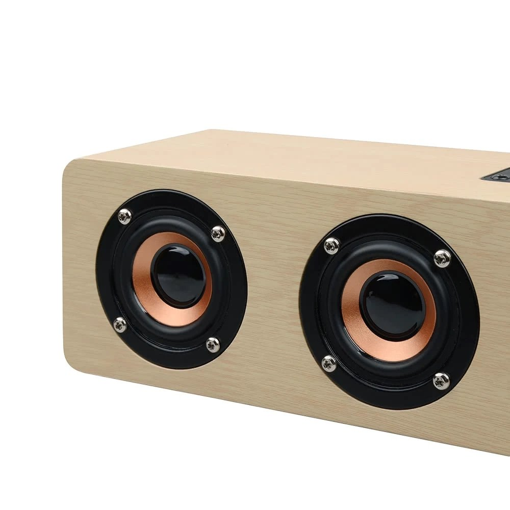3D Wireless Bluetooth Subwoofer Wood Speaker, elcfan Portable Stereo Sound Bar for Desktop, Laptop,PC, TV, Home Theater - Light Brown by elecfan (Image #8)