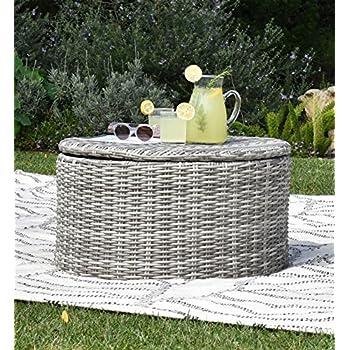 Etonnant Elle Decor Vallauris Outdoor Storage Coffee Table, Gray