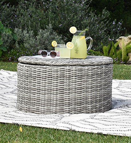 Elle Decor Vallauris Outdoor Storage Coffee Table, Gray (Storage Set Cocktail Table)