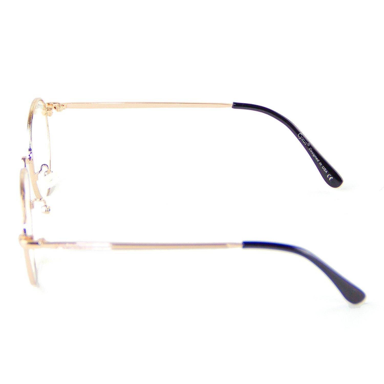 Cyxus moda tondo oro telaio retr/ò classico occhiali scattare foto uomo//donna viaggiare uso per lo shopping unisex lente trasparente