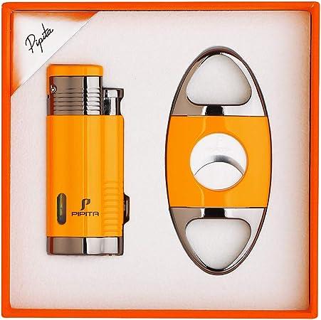 PIPITA Cigar Lighter and Cigar Cutter Set (2pcs/Set), Jet 3 Flame Cigar Lighter Torch and Cigar Cutter, Packing with Nice Gift Box (Yellow, Lighter+Cutter)