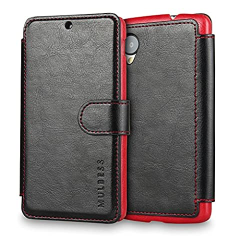 Nexus 5 Case Wallet,Mulbess [Layered Dandy][Vintage Series][Black] - [Ultra Slim][Wallet Case] - Leather Flip Cover With Credit Card Slot for LG Google Nexus (Lg Nexus 5 Cases For Girls)