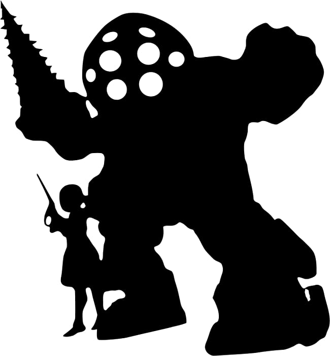 """Big Daddy & Sister Silhouette BIO Shock Video Game Logo Stickers Symbol 5.5"""" Decorative DIE Cut Decal for Cars Tablets LAPTOPS Skateboard - Black"""