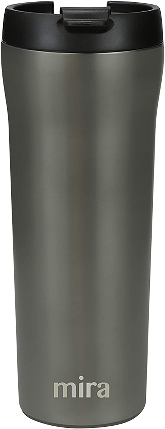 MIRA 16 oz Stainless Steel Insulated Travel Mug with lid - Spill Proof Vacuum Insulated Car Tumbler Cup for Coffee & Tea - Thermos Keeps Drinks Steaming Hot or Ice Cold - Gray Satin