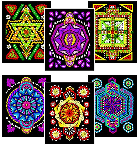 Triangle, Octagon, Square, Circle, Pentagon, Hexagon - 6 Fuzzy Velvet Coloring Posters -