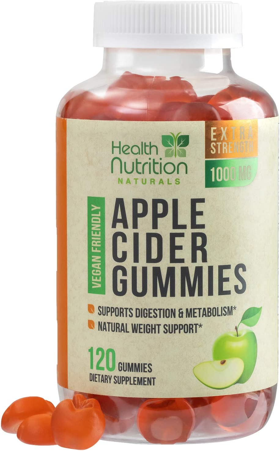 Apple Cider Vinegar Gummies for Weight Support and Cleanse 1000mg - Delicious ACV Gummy Vitamins with The Mother - Folic Acid, Beet Juice, Pomegranate - Non-GMO - 120 Gummies