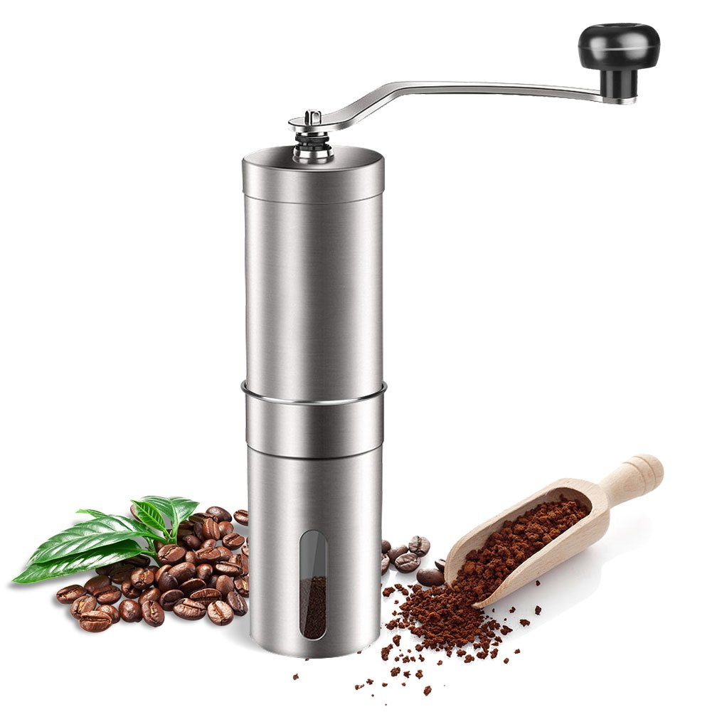 AZFUNN Manuel Coffee Grinder, Conical Ceramic Burr Mill, Brushed Stainless Steel Personal Coffee Bean Grinder Spice Herb Pepper Grinder for French Press, Espresso, Turkish, Cold Brew, Silver