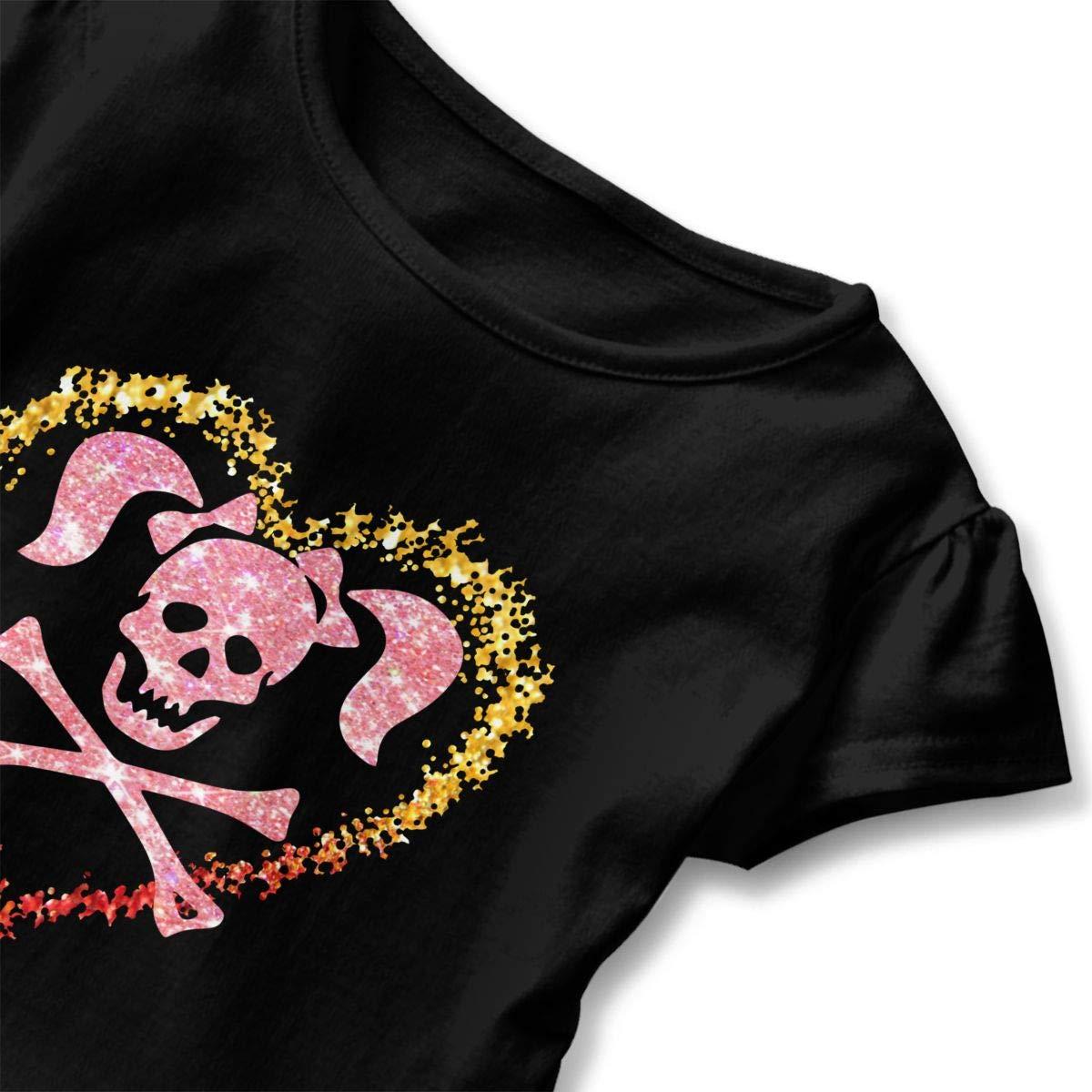 CZnuen Skull Crossbones Pigtails Heart Baby Girls Basic Short Puff Sleeve Round Neck Ruffle T-Shirt