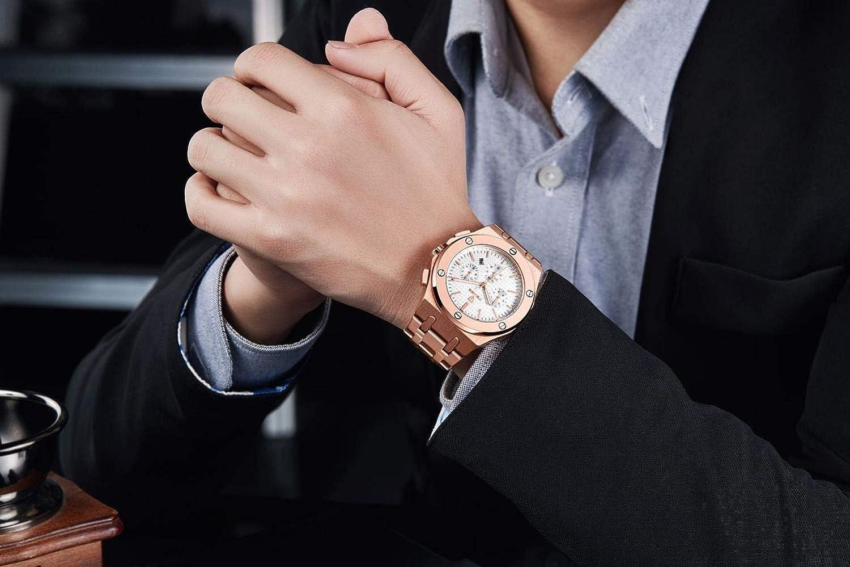Armbandsur, automatisk mekanisk affärsklockning av stålbälte med kalenderveckans funktion modeklocka Rosguld skal svart yta