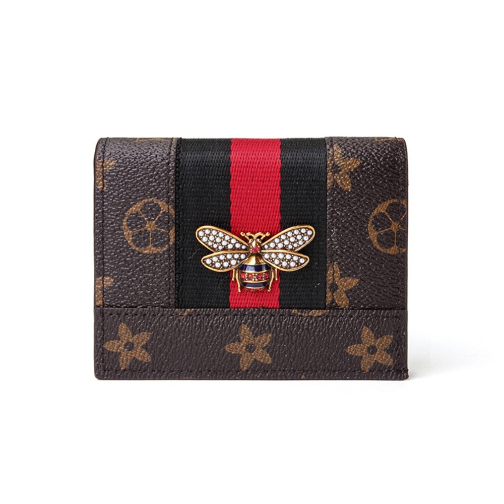 Van Persie Small Little Bee Compact Bi-fold Leather Pocket Wallet with pearl (Brown)