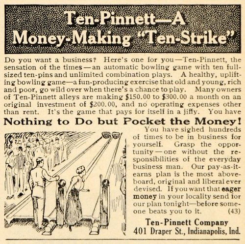 1912 Ad Ten Pinnett Automatic Bowling Game Ten Strike - Original Print Ad (Atic Wall)
