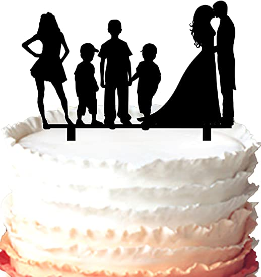 Bride and Groom with three boys diamond ring topper Mr and Mrs Cake Toppers Love Family Wedding Cake Topper Acrylic Cake Topper