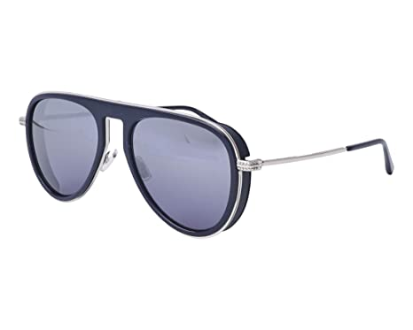 ea48645685 Image Unavailable. Image not available for. Color  Jimmy Choo Carl PJP 96  Blue Silver Metal Aviator Sunglasses Silver Mirror Lens