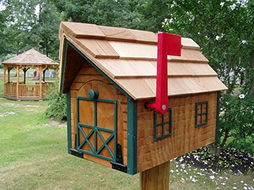 Amish Handmade Handcrafted Rural Mailbox w Flag USPS Wood Roof Log Cabin Green