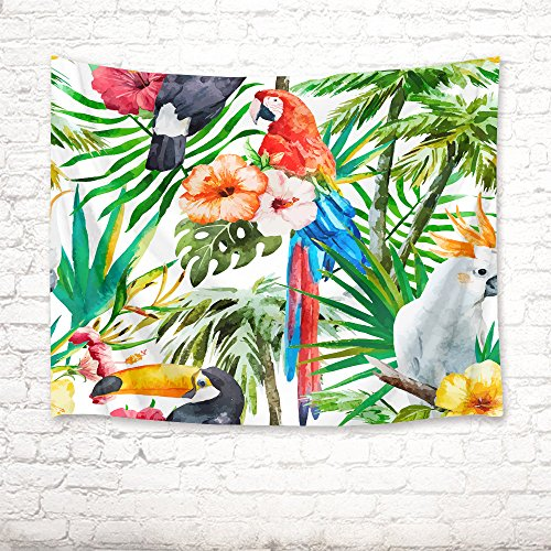 (HVEST Parrot Tapestry Tropical Birds and Flowers on Palm Trees in Forest Wall Hanging Spring Scenery Tapestries for Bedroom Living Room Dorm Decor Birthday Party Backdrop,80Wx60H inches)