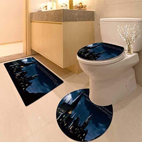 Harry Potter Bathroom Decor.Huawuhome U Shaped Toilet Floor Rug Set Harry Potter Paper Hd 3 Piece Bathroom Rug Set