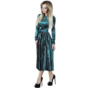 59d23c79adeda Paymenow Women Elegant Velvet Party Holiday Cocktail Maxi Dress Casual Long  Sleeve Wrap Pleated Dress (