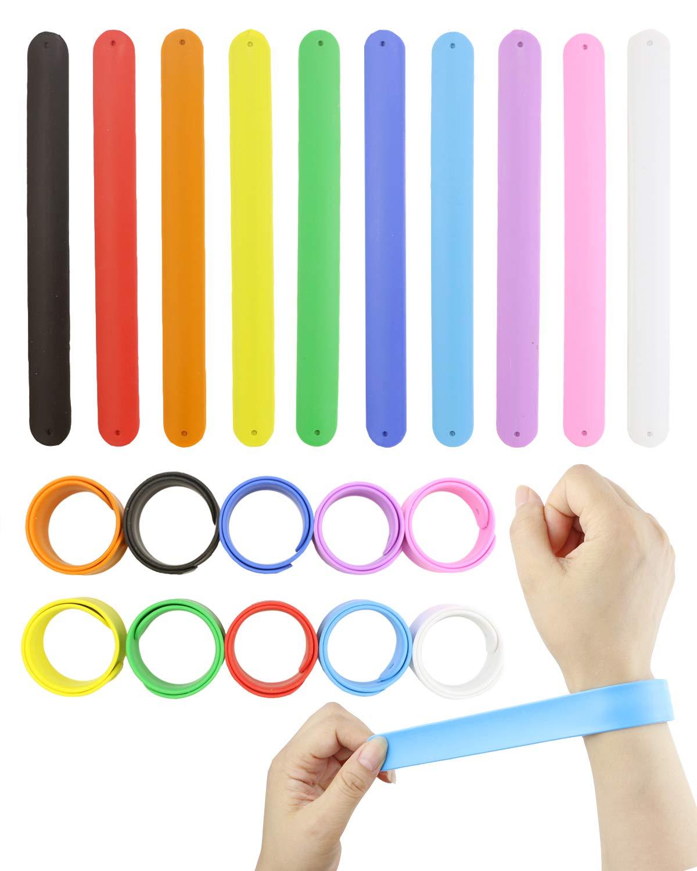 WTSHOP 20Pcs Rainbow Silicone Slap Bracelets Soft and Safe for Party Favors(10 Color) by ERTDDE