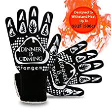 Grill Gloves Oven Mitts Kitchen - Famgem 932°F Extreme Heat Resistant for Baking / BBQ 1Pairs
