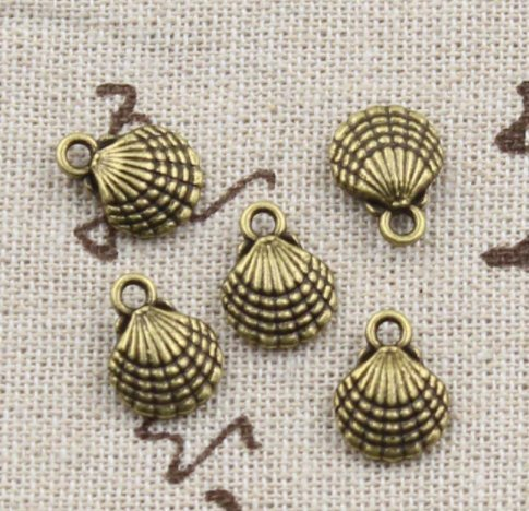 16 pcs Bronze Shell Charms 21x11mm Antique Brass Seashell Charms Beach Charms Clam Shell Charm Nautical Charm Shell Pendant Metal Charms (CB030)
