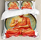 Mother Decor Duvet Cover Set Queen Size by Ambesonne, Sanctuary Health Spa Good Energy Lotus Flowers, Decorative 3 Piece Bedding Set with 2 Pillow Shams