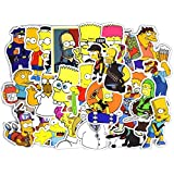 50 Pieces Set Cartoon Sticker, Waterproof PVC Simpson Stickers for Laptop,Car,Phone,Luggage Bike Stylin