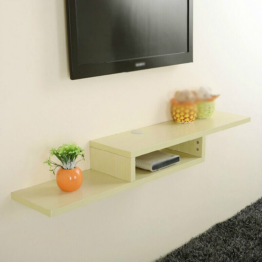 White Maple color Partition Shelf / TV set-top box shelf / shelf Wall-mounted / wall-mounted TV stand / TV Wall shelf /(1302415cm) by Wall Shelves