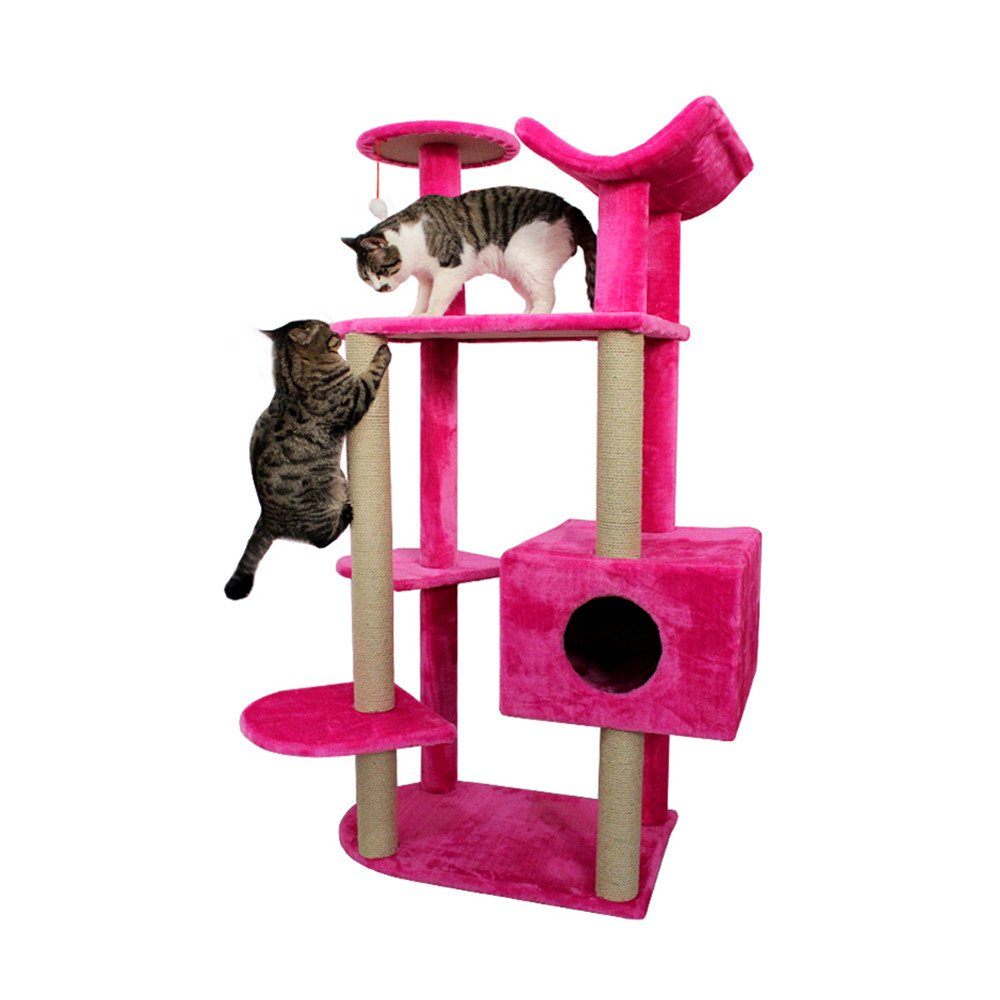pink Red SXHDMY-Pet steps 6-Layer Cat Tree Climbing Frame Cat Nest Cat Toy Rope Platform Multifunctional Cat Stand Detachable Combination (color   pink Red)