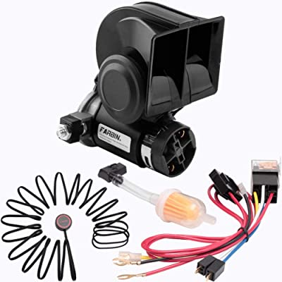 FARBIN Compact Air Horn Kit 12V 150db Loud Horn for Car with Wiring Harness (12V, Black Horn with Button): Automotive