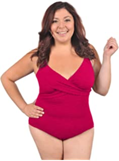 70bdb0a7c5 Krinkle Women s Plus Size Chlorine Resistant Krinkle Cross Back ...