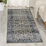 Kathy Ireland Worldwide MAI04 Rustic/Vintage Traditional Area Rug, 2'2'' x7'7, Ivory Blue