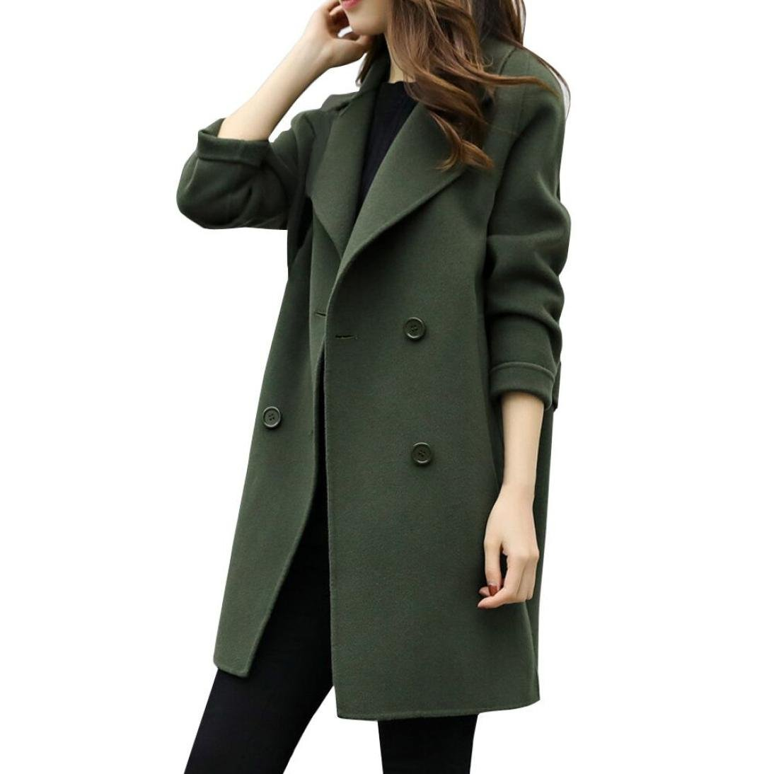Pea Coat, Zulmaliu Lapel Open Front Double Breasted Button Women Trench Coat Cardigan Overcoat