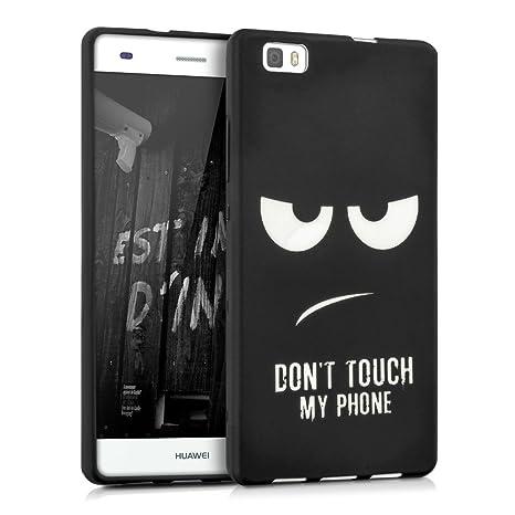 kwmobile Funda compatible con Huawei P8 Lite (2015) - Carcasa de TPU con diseño Dont touch my Phone en blanco / negro